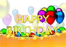Birthday card with balloons, sparks and birthday text Stock Images