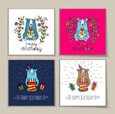 Birthday card with bear characters. Royalty Free Stock Photos