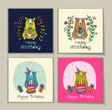 Birthday card with bear characters. Stock Image