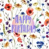 Birthday card - beautiful congratulation - watercolor field flowers. Beautiful watercolor flowers pattern - happy birthday. themed idea for a greeting card Royalty Free Stock Image