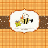 Birthday card with bee. In vector format Stock Photo