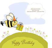 Birthday card with bee. Cute birthday card with bee an flowers Royalty Free Stock Image