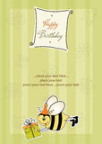 Birthday card with bee. And big gift Royalty Free Stock Photo