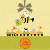 Birthday card with bee. And animal toy train Stock Photography