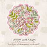 Birthday card with big round of spring flowers,  vector illustra Royalty Free Stock Photos