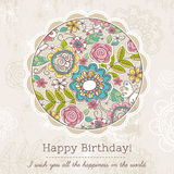 Birthday card with big round of spring flowers,  vector Royalty Free Stock Photo