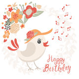 Birthday card with birds Royalty Free Stock Images