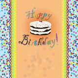 Birthday card with birthday cake and text Royalty Free Stock Photo