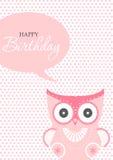 Birthday card,birthday, holiday, christmas,gift,cartoon,owl,bird,animal illustration Royalty Free Stock Photo