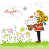Birthday card with blonde girl and cupcake. Happy Birthday card with girl and cupcake royalty free stock photo