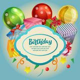 Birthday card with blue background and gift box. Additional eps 10 file Stock Photos