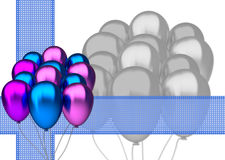 Birthday card with blue and purple party balloons Stock Photos