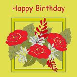 Birthday card with a bouquet of flowers on a yellow background. EPS10 Stock Photography