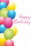 Birthday card with bunch of balloons Royalty Free Stock Photography