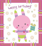 Birthday card- bunny. Birthday greeting card with funny cartoon bunny stock illustration