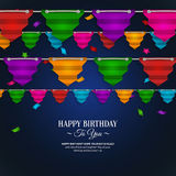 Birthday card with bunting flags in the style of Stock Photography