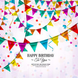 Birthday card with bunting flags. Vector birthday card with bunting flags and ribbons Royalty Free Stock Photo