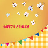 Birthday card with butterflies and bunting flags Royalty Free Stock Image