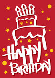 Birthday Card with Cake. A red colored Vector Birthday Card with a cake Royalty Free Stock Photo