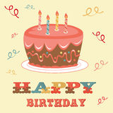 Birthday card with cake. An illustration of a Birthday card with cake Royalty Free Stock Photos