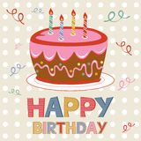 Birthday card with cake Royalty Free Stock Image