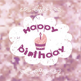 Birthday card with cake. On the blurred background.Vector Royalty Free Stock Image