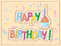 Birthday card with cake, candle and hand draw text. Festive colorful card with hand drawn text Happy  Birthday, cake, candle on the vintage background. eps10 Royalty Free Stock Images
