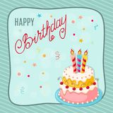 Birthday card with  cake, cherries, three candles into frame Royalty Free Stock Photos