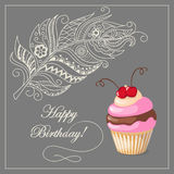 Birthday card with cake, cherry and feather Stock Image