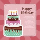 Birthday card with cake. Colorful cake. Concept for birthdays, Valentine`s Day, weddings. Flat vector illustration. Birthday card with cake. Concept for Royalty Free Stock Photos