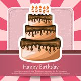 Birthday card with cake. Concept for birthdays, Valentine`s Day, weddings. Flat  illustration Royalty Free Stock Photos