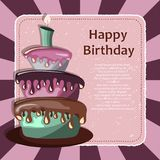 Birthday card with cake. Concept for birthdays, Valentine`s Day, weddings. Flat  illustration Royalty Free Stock Photography