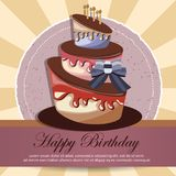 Birthday card with cake. Colorful cake. Concept for birthdays, Valentine`s Day, weddings. Flat  illustration. Birthday card with cake. Concept for birthdays Royalty Free Stock Images