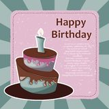 Birthday card with cake. Colorful cake. Concept for birthdays, Valentine`s Day, weddings. Flat  illustration. Birthday card with cake. Concept for birthdays Royalty Free Stock Photos
