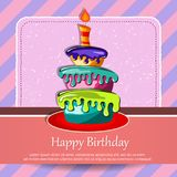Birthday card with cake. Concept for birthdays, Valentine`s Day, weddings. Flat vector illustration Stock Images