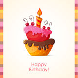 Birthday card with cake Royalty Free Stock Photos