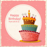 Birthday card with cake Stock Photography