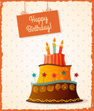 Birthday card with cake Stock Images
