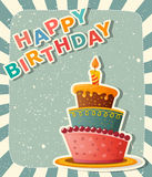 Birthday card with cake Royalty Free Stock Images