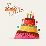 Birthday card with cake Royalty Free Stock Photo