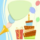 Birthday card with cake and gift box. Vector illustration Stock Photo