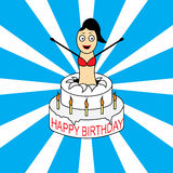 Birthday card with cake and girl Stock Images