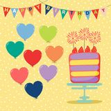 Birthday card with cake. Hand drawn birthday card with a cartoon layer cake with strawberries and sparklers, balloons, bunting, text. Vector illustration Royalty Free Stock Images