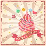 Birthday card with cake, hearts, candy and ribbon Royalty Free Stock Image