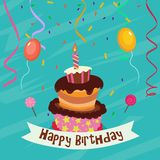 Birthday card with cake. Illustration of Birthday card with cake Royalty Free Stock Images