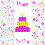 Birthday card. Cake and letters on a white background, vector Stock Photo