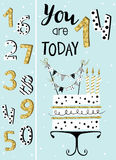Birthday card with cake and numbers of years. Birthday card with cake , numbers of years age with gold glittering parts, topper, candles and lettering text stock illustration