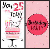 Birthday card with cake , numbers of years. Age with gold glittering parts, topper, candles and lettering text. Vector hand drawn illustration royalty free illustration