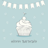 Birthday card. Cake. Cake on a postcard. Flat style. Vector illustration Royalty Free Stock Image