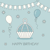 Birthday card. Cake. Cake on a postcard. Flat style. Vector illustration Royalty Free Stock Photography